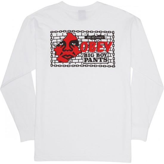 Obey Big Boy Pants Basic Long Sleeve T-Shirt - White