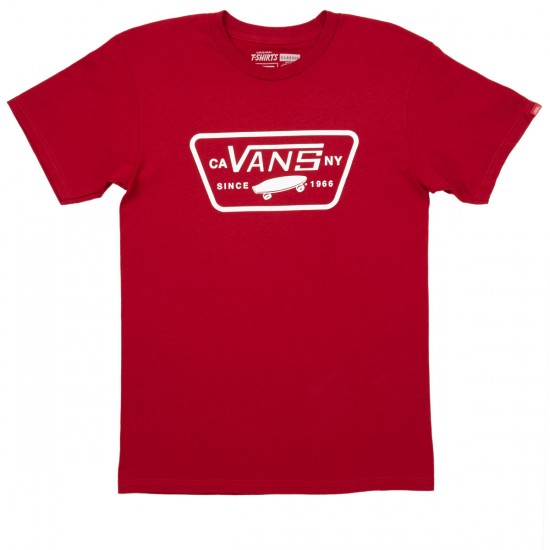 Vans Full Patch T-Shirt - Cardinal/White
