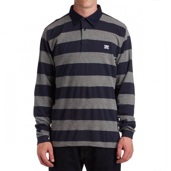 Fourstar Pirate Stripe Polo Long Sleeve Shirt - Grey Heather