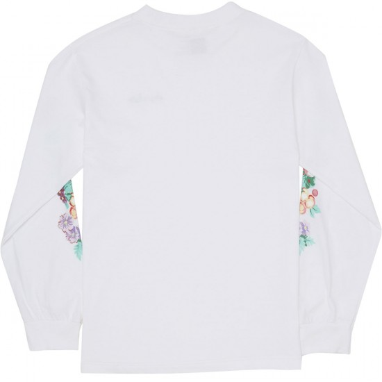 Chocolate Floral Chunk Long Sleeve T-Shirt - White