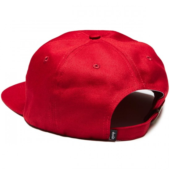Chocolate 6 Panel Chunk Strapback Hat - Burgundy