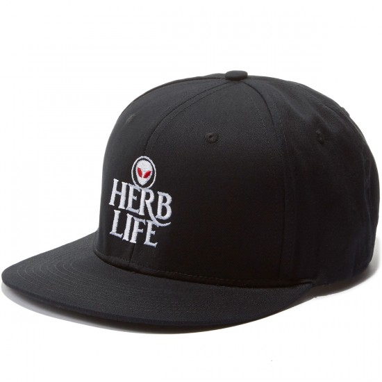 Hustle Trees Herb Life Snapback Hat - Black