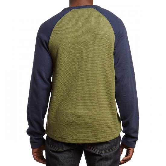 LRG Natural Down Henley Thermal Shirt - Military Olive Heather