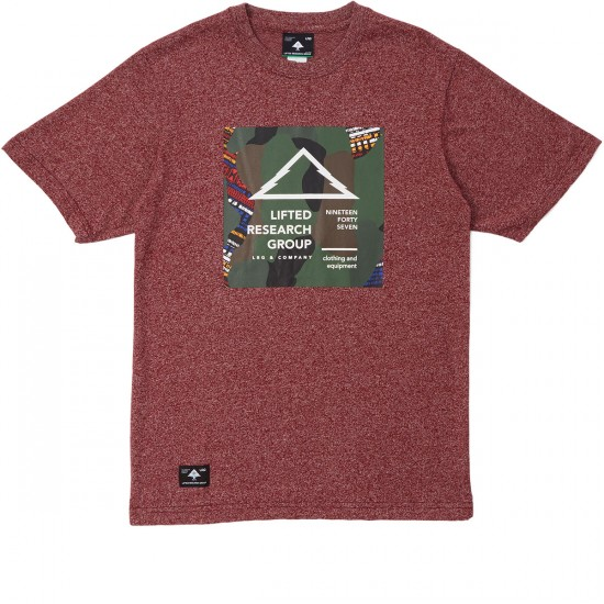 LRG Outdoor Divide 47 T-Shirt - Deep Maroon Heather