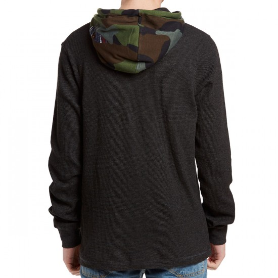 LRG Lantern Long Sleeve Henley Hoodie - Black Heather
