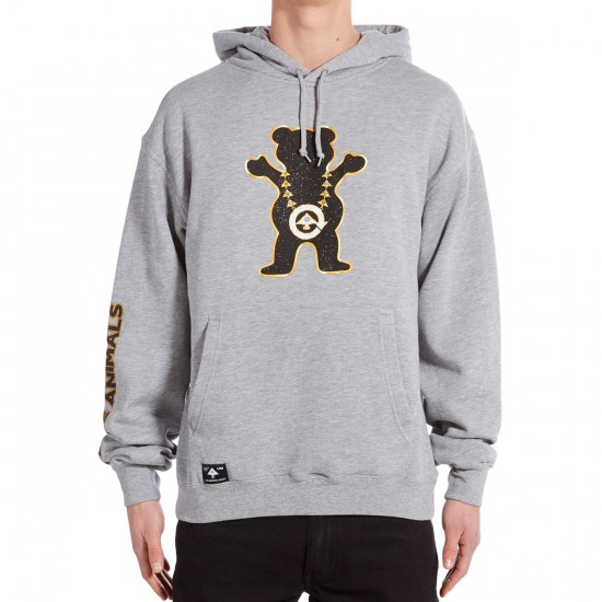 LRG X Grizzly Boss Bear Pullover Hoodie - Ash Heather