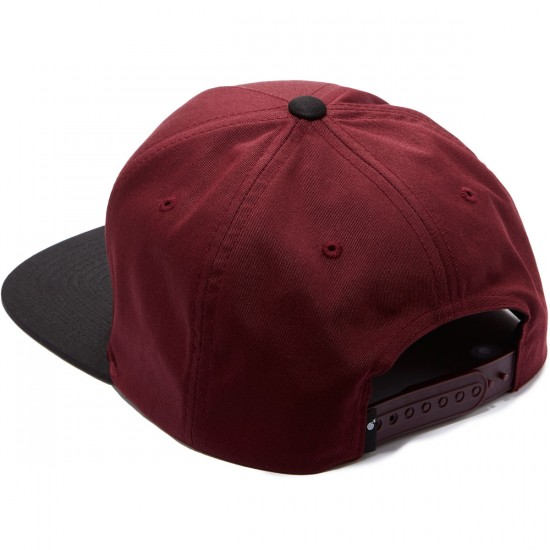 The Hundreds Slant Snapback Hat - Burgundy/Black