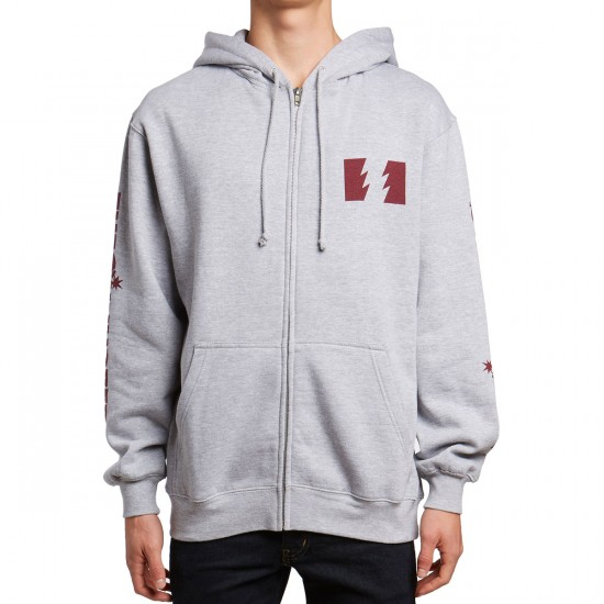 The Hundreds Rich Flag Zip Up Hoodie - Athletic Heather