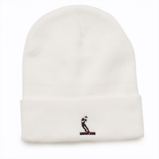 Everybody Skates Smith Grind Embroidered Beanie - White