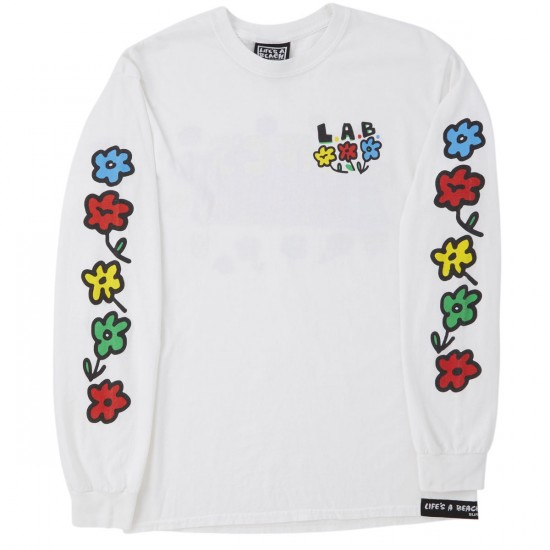 Lifes A Beach Flowers Long Sleeve T-Shirt - White
