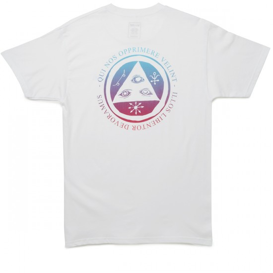 Welcome Skateboards Latin Talisman T-Shirt - White/Red/Blue