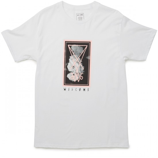 Welcome Skateboards Roses T-Shirt - White/Black/Pink