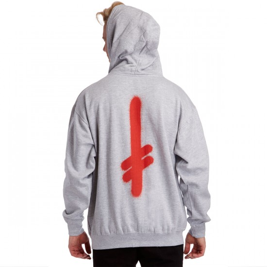 Deathwish The Truth Zip Up Hoodie - Grey/Red