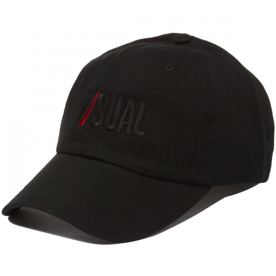 VISUAL Two Tone Logo Unstructured 6-Panel Hat - Black