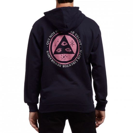 Welcome Latin Talisman Midweight Pullover Hoodie - Navy/Pink