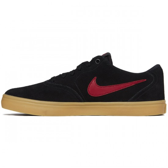 Nike SB Check Solarsoft Shoes - Black/Team Red/Gum Brown - 6.0