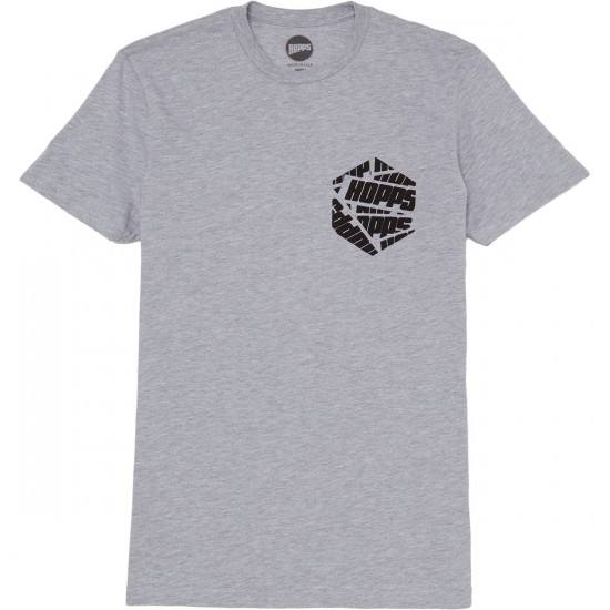 Hopps Hex Logo T-Shirt - Heather Grey/White