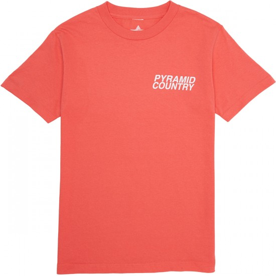 Pyramid Country Coral Reef Logo T-Shirt - Coral/White