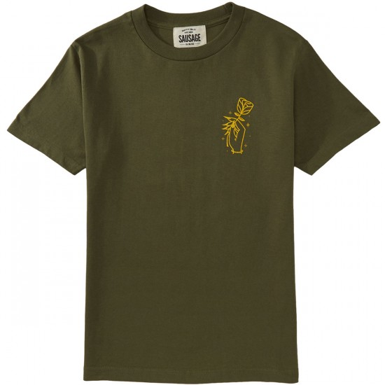 Sausage Rose Hand T-Shirt - Yellow/Olive