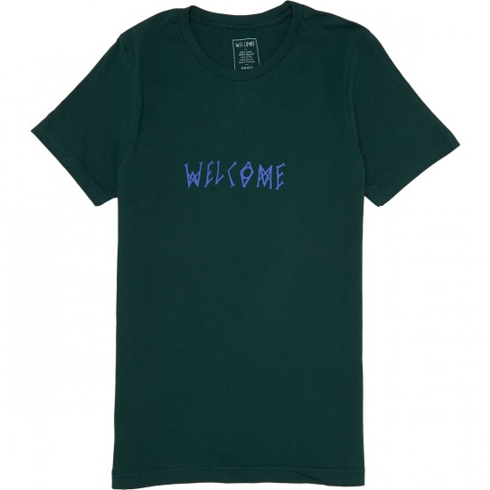 Welcome Scrawl T-Shirt - Forest/Lavender