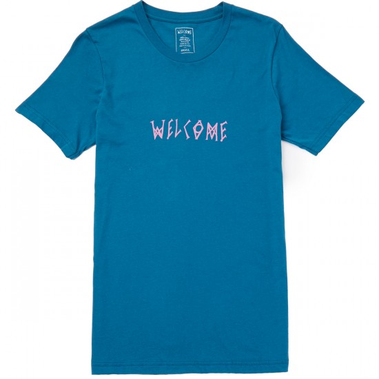 Welcome Scrawl T-Shirt - Pink/Blue
