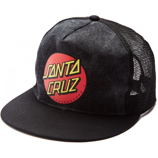 Santa Cruz Classic Dot Trucker Hat - Black Wash