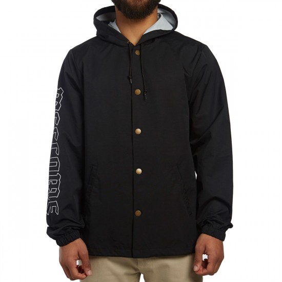 Welcome Symbol Hooded Coaches Jacket - Black