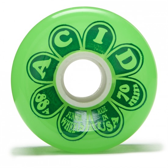Acid Flower Power Double Radius Cruiser Skateboard Wheels - Green - 70mm