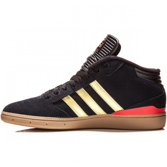 Adidas Busenitz Pro Mid Shoes - Black/Gold Metallic/Scarlet - 8.0