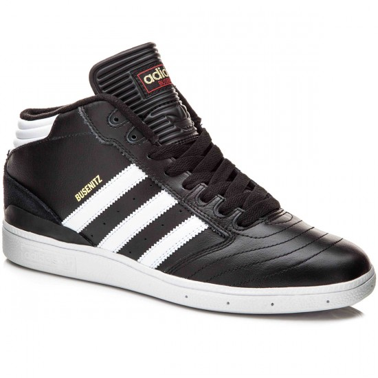 Adidas Busenitz Pro Mid Shoes - Black/White/Gold Metallic - 10.0