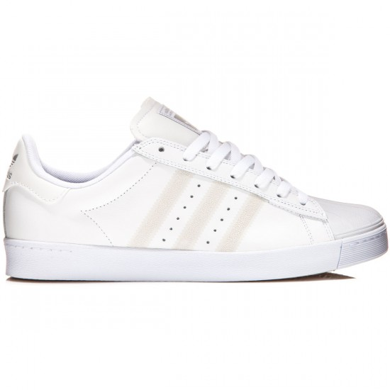 Adidas Superstar Vulc Adv Shoes - White/White/Silver Metallic - 8.0