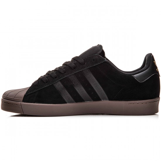 Adidas Superstar Vulc Adv Shoes - Black/Gold Metallic/Gum - 6.0