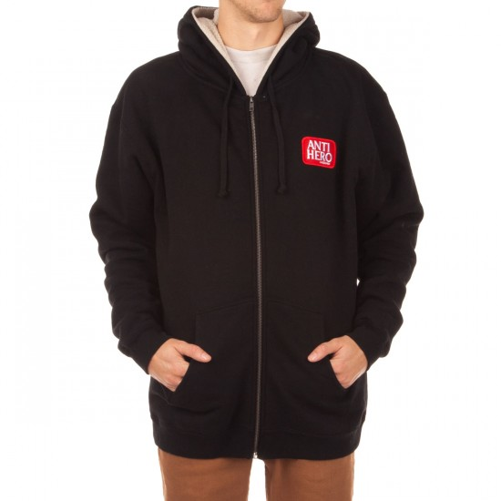 Anti-Hero Reserve Patch Sherpa Zip Hoodie - Black