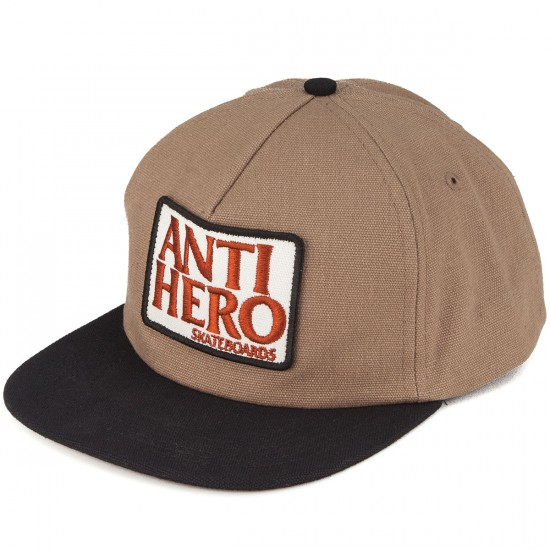 Anti-Hero Reserve Patch Unstructured Snapback Hat - Khaki/Black