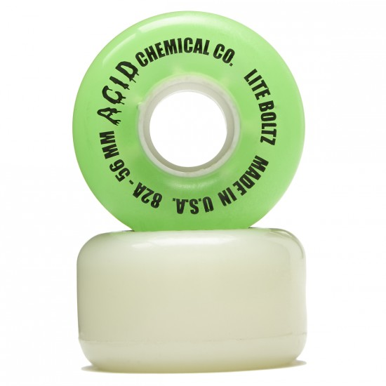 Acid Clean Machine Cruiser Skateboard Wheels - White/Light Green - 56mm