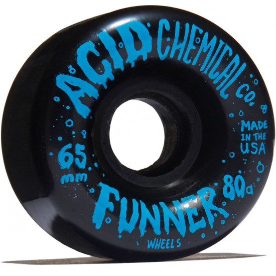 Acid Bubbles Double Radius Cruiser Skateboard Wheels - Black - 65mm