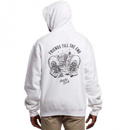 Sketchy Tank The End Pullover Hoodie - White