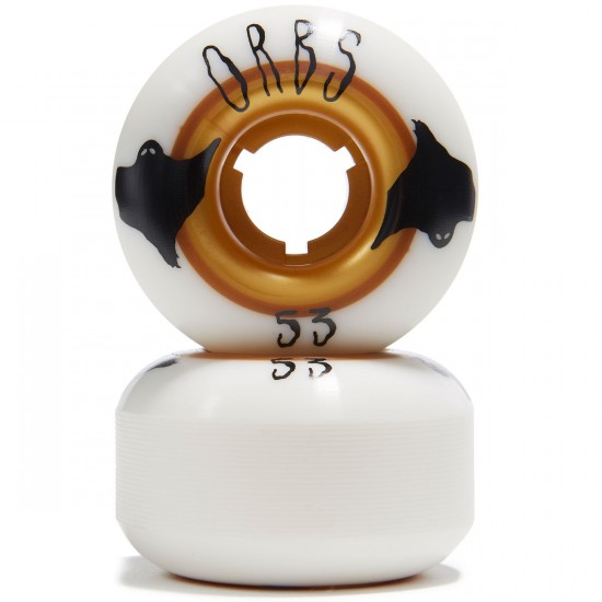 Welcome Orbs Poltergeists Skateboard Wheels - White With Gold Core - 53mm 104A