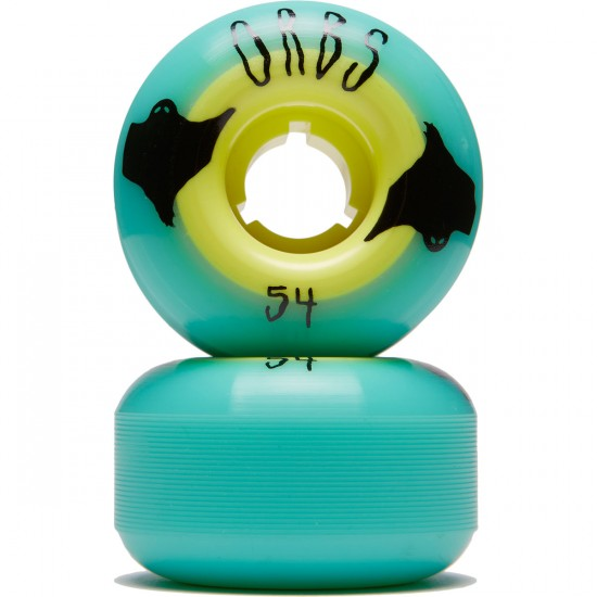 Welcome Orbs Poltergeists Skateboard Wheels - Teal/Neon Yellow Core - 54mm 104A