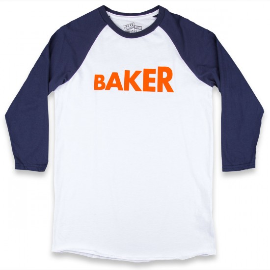Baker Skateboards Step Up Baseball T-Shirt - White/Navy
