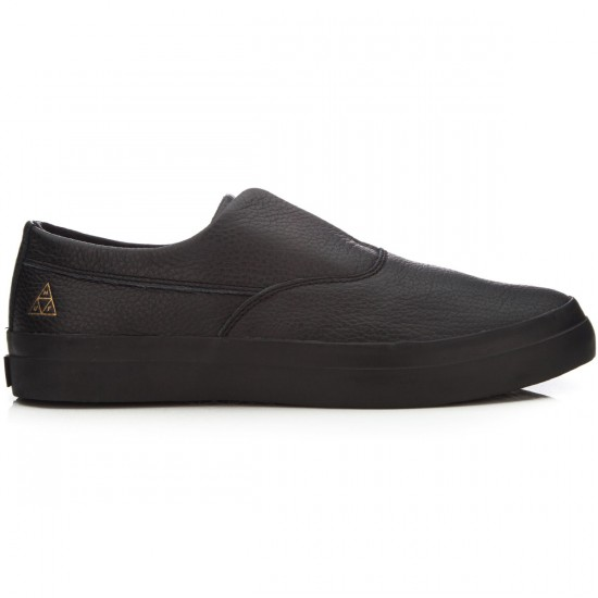 HUF Dylan Slip On Shoes - Black Leather - 4.0