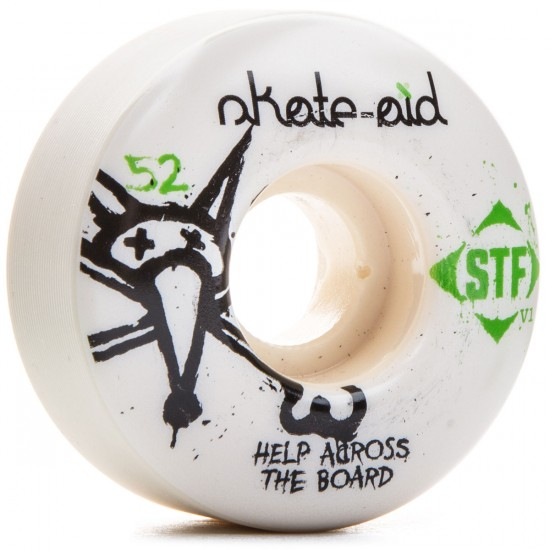 Bones STF Skate-Aid Skateboard Wheels - White - 52mm