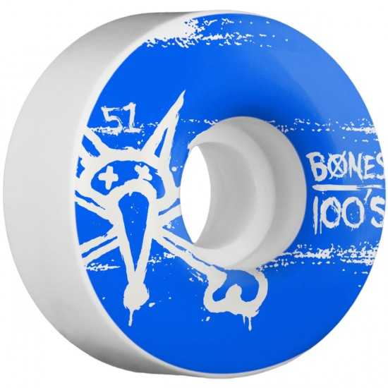 Bones 100's #9 Skateboard Wheels - 51mm - 100a - White