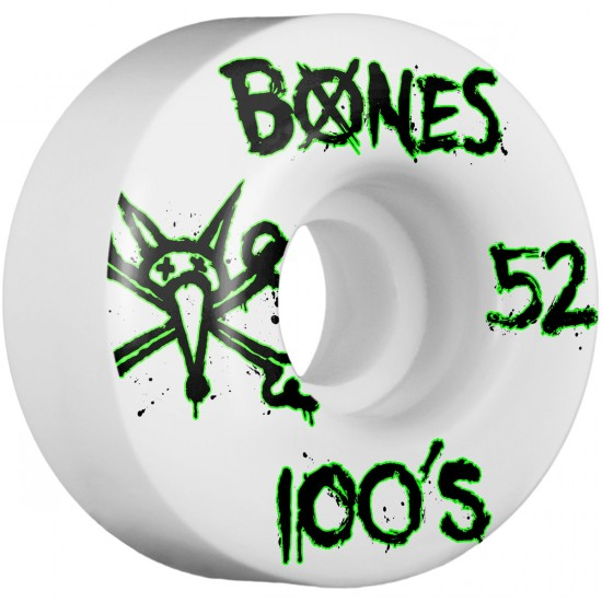 Bones 100's #9 Skateboard Wheels - 52mm - 100a - White