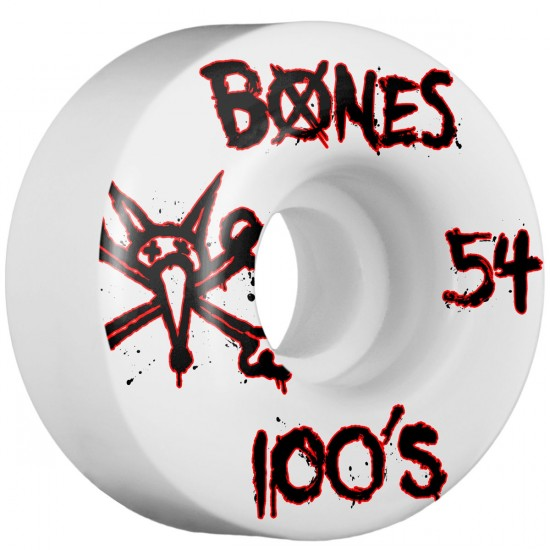 Bones 100's #9 Skateboard Wheels - 54mm - 100a - White