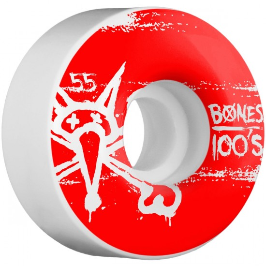 Bones 100's #9 Skateboard Wheels - 55mm - 100a - White