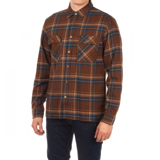 Brixton Archie Long Sleeve Flannel Shirt - Brown/Navy