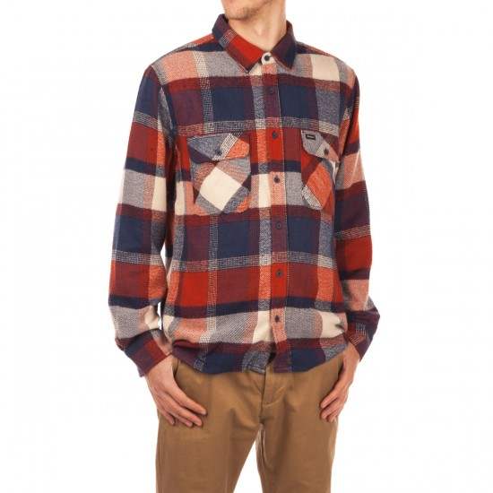Brixton Archie Long Sleeve Flannel Shirt - Rust/Navy