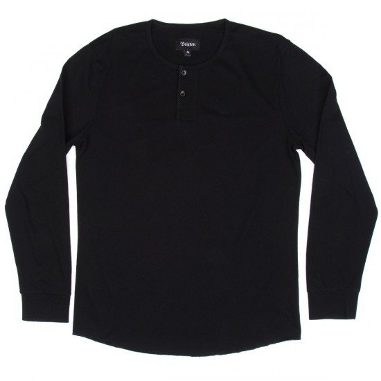 Brixton Berkeley Long Sleeve Henley T-shirt - Black