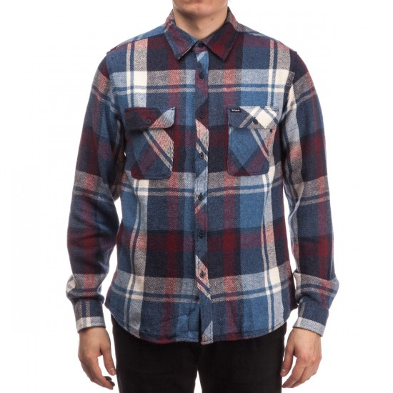 Brixton Bowery Long Sleeve Flannel Shirt - Blue/Burgundy